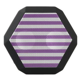 Purple and White Stripe Pattern Black Bluetooth Speaker