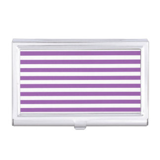 Purple and White Stripe Pattern Business Card Holder