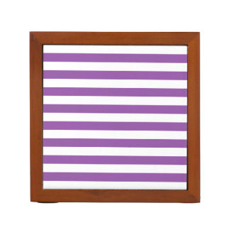 Purple and White Stripe Pattern Desk Organizer