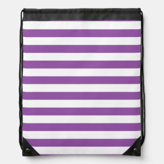 Purple and White Stripe Pattern Drawstring Bag