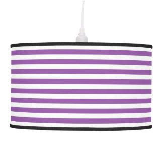 Purple and White Stripe Pattern Hanging Lamp