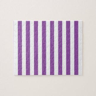 Purple and White Stripe Pattern Jigsaw Puzzle