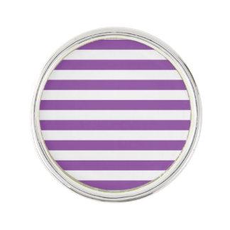Purple and White Stripe Pattern Lapel Pin
