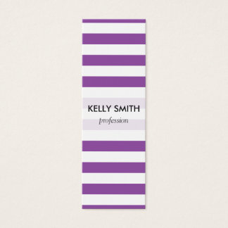 Purple and White Stripe Pattern Mini Business Card