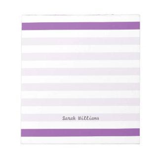 Purple and White Stripe Pattern Notepad