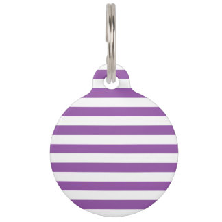Purple and White Stripe Pattern Pet ID Tag