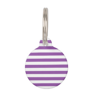 Purple and White Stripe Pattern Pet Name Tag