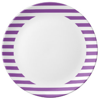 Purple and White Stripe Pattern Porcelain Plates