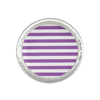 Purple and White Stripe Pattern Rings