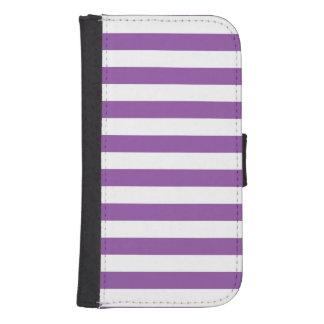 Purple and White Stripe Pattern Samsung S4 Wallet Case