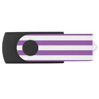 Purple and White Stripe Pattern Swivel USB 2.0 Flash Drive