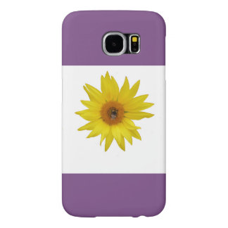 Purple and white stripe sunflower with bee samsung galaxy s6 case
