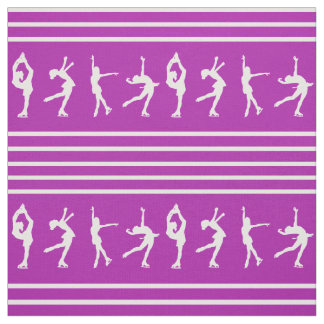 Purple and White Striped Figure Skating Fabric