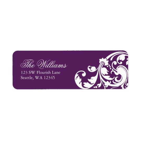 Purple and White Swirl Flourish Return Address