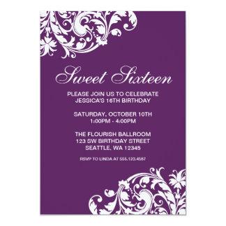"Purple and White Swirl Flourish Sweet 16 Birthday 5"" X 7"" Invitation Card"