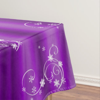 Purple and White Swirls Christmas Tablecloth