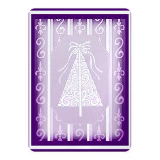"Purple And White Swirls Stripes Christmas Tree 5"" X 7"" Invitation Card"