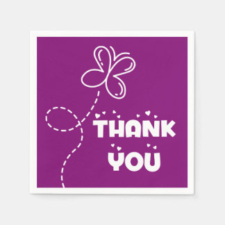 Purple And White Thank You Hearts & Butterfly Paper Napkin