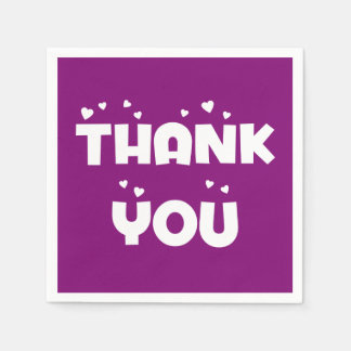 Purple And White Thank You Hearts - Wedding Party Paper Napkins