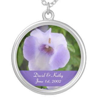 Purple and White Torenias Flower Necklace