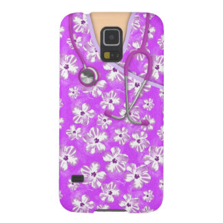Purple And White Tropical Medical Scrubs Case For Galaxy S5