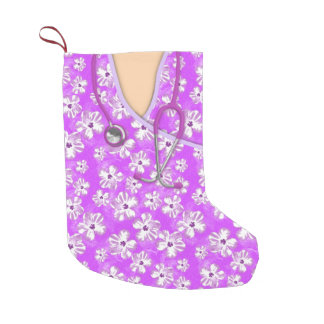 Purple And White Tropical Medical Scrubs Small Christmas Stocking