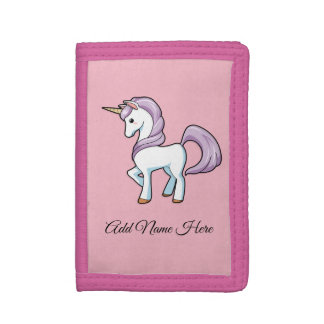 Purple And White Unicorn Trifold Wallet