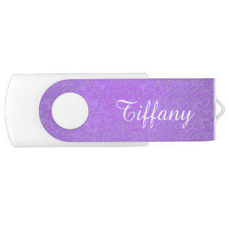 Purple and White USB Flash Drive