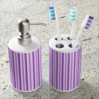 Purple and White vertical Stripes Bathroom Set