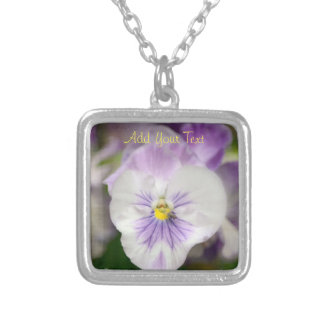 Purple and White Violas by Shirley Taylor Silver Plated Necklace