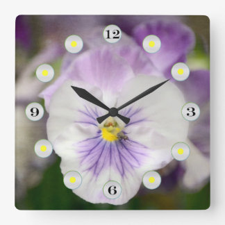 Purple and White Violas by Shirley Taylor Square Wall Clock