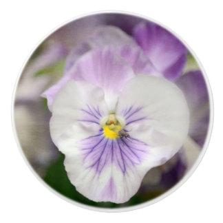 Purple And White Violas Ceramic Knob