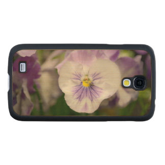 Purple And White Violas Carved® Maple Galaxy S4 Case