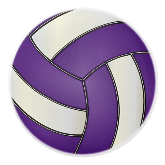 Purple and White Volleyball Ceramic Knob