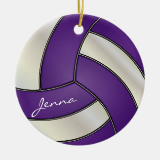 Purple and White Volleyball | DIY Name Ceramic Ornament