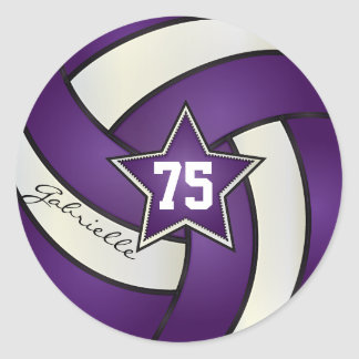 Purple and White Volleyball | DIY Name & Number Classic Round Sticker