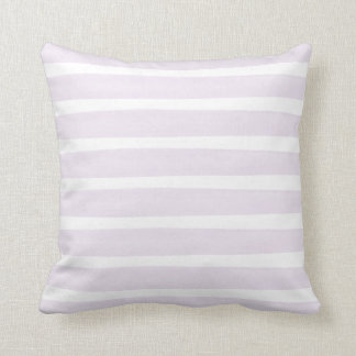 Purple and White Watercolor Stripes Polyester Throw Pillow