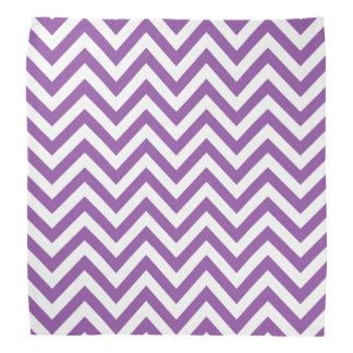 Purple and White Zigzag Stripes Chevron Pattern Bandana
