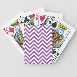 Purple and White Zigzag Stripes Chevron Pattern Bicycle Playing Cards
