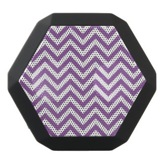 Purple and White Zigzag Stripes Chevron Pattern Black Bluetooth Speaker
