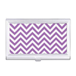 Purple and White Zigzag Stripes Chevron Pattern Business Card Holder