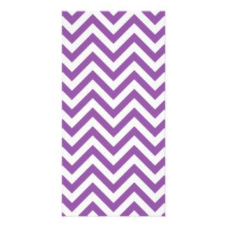 Purple and White Zigzag Stripes Chevron Pattern Card