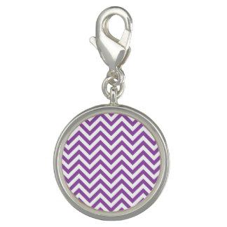 Purple and White Zigzag Stripes Chevron Pattern Charms