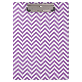 Purple and White Zigzag Stripes Chevron Pattern Clipboard