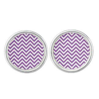 Purple and White Zigzag Stripes Chevron Pattern Cuff Links