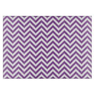 Purple and White Zigzag Stripes Chevron Pattern Cutting Board