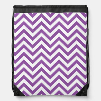 Purple and White Zigzag Stripes Chevron Pattern Drawstring Bag