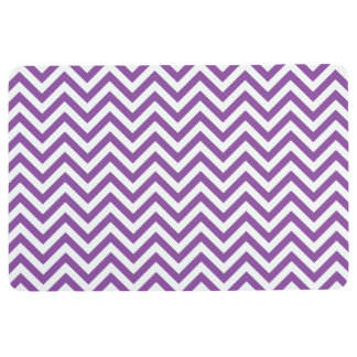 Purple and White Zigzag Stripes Chevron Pattern Floor Mat