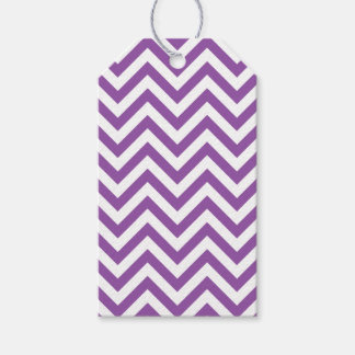 Purple and White Zigzag Stripes Chevron Pattern Gift Tags