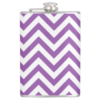 Purple and White Zigzag Stripes Chevron Pattern Hip Flask